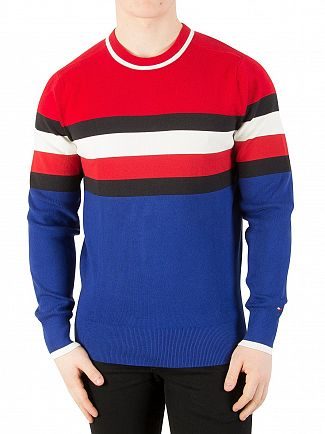 Tommy Hilfiger Haute Red Sporty Cotton Stripe Knit