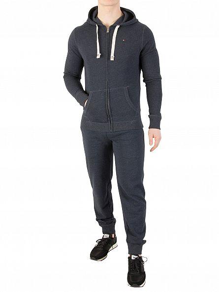 Tommy Hilfiger Navy Blazer Icon Logo Zip Through Hoodie