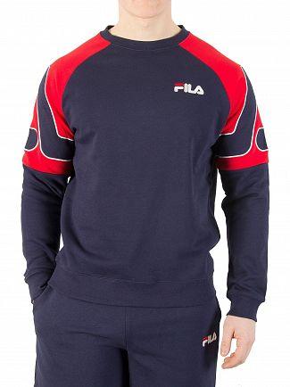 Fila Vintage Peacoat/Red Aria Archive Raglan Sweatshirt