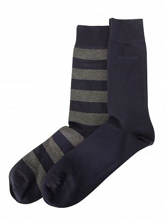 Gant Charcoal Melange 2 Pack Bar Stripe Socks