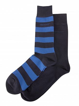 Gant Yale Blue 2 Pack Bar Stripe Socks