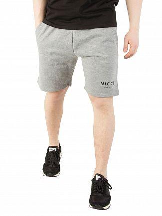 Nicce London Light Grey Marl Original Logo Shorts