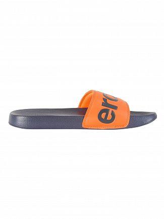 Superdry Dark Navy/Hawaii Orange Pool Sliders