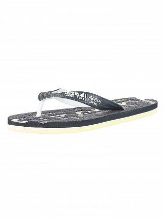 Superdry Darkest Navy Grit/Fluro Lime Scuba Flip Flops