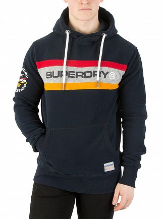 Superdry Three Pointer Navy Trophy Chest Band Hoodie
