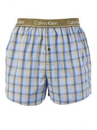 Calvin Klein Plaid 3-3 Rifle Green Slim Fit Boxer Trunks