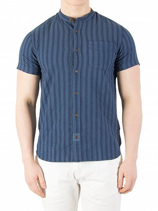 Scotch & Soda Denim Blue Garment-Dyed Shortsleeved Shirt