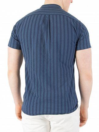 Scotch & Soda Denim Blue Garment-Dyed Shortsleeved Shirt