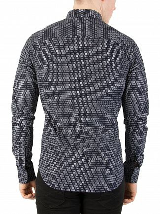 Scotch & Soda Navy Longsleeved Pattern Shirt