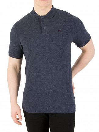 Tommy Jeans Black Iris Slim Fit Melange Polo Shirt