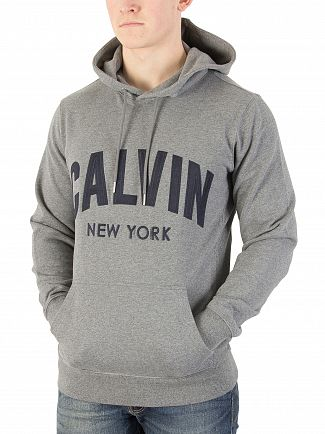 Calvin Klein Jeans Mid Grey Heather Hikos Graphic Pullover Hoodie