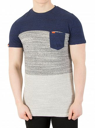 Superdry Rich Royal Space Dye Orange Label Haze Stripe T-Shirt
