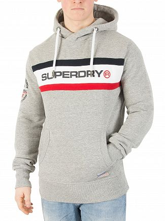 Superdry Stadium Grey Grindle Trophy Chest Band Pullover Hoodie