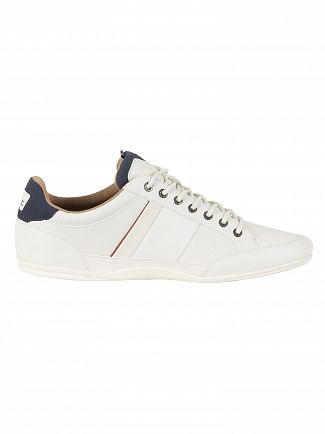 Lacoste Off White/Navy Chaymon 118 2 CAM Leather Trainers