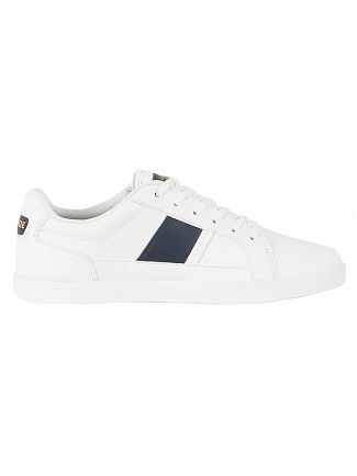 Lacoste White/Navy Europa 118 1 QSP SPM Leather Trainers