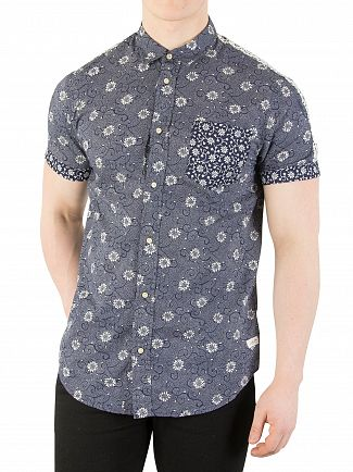 Scotch & Soda Navy Shortsleeved Pocket Shirt