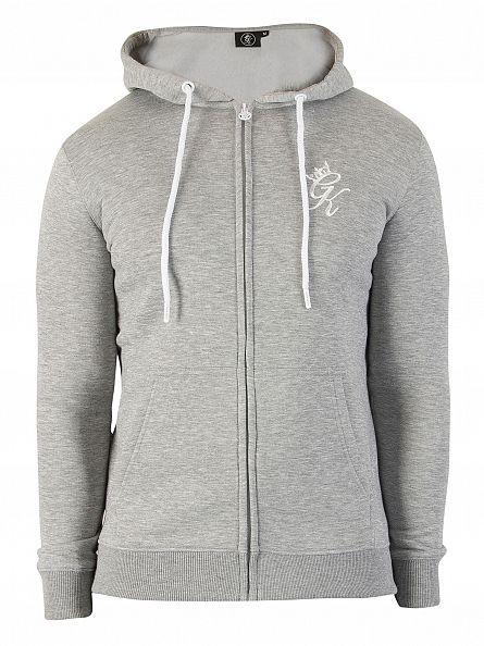Gym King Grey Marl Core Logo Zip Hoodie