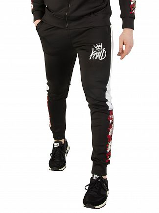 Kings Will Dream Black/White Montross Chevron Floral Track Joggers