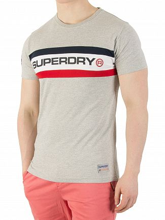 Superdry Stadium Grey Grindle Trophy Chest Band T-Shirt
