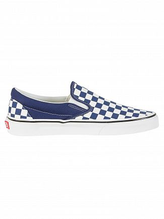 Vans Estate Blue Classic Slip On Checkerboard Trainers