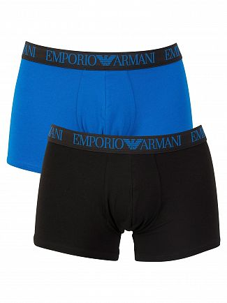 Emporio Armani Black/Blue 2 Pack Endurance Trunks