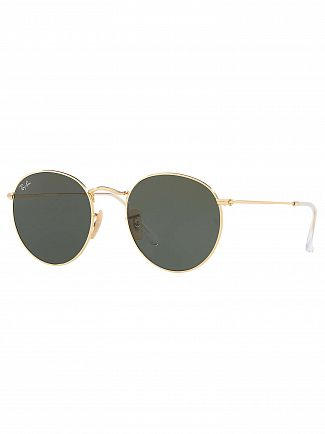 Ray-Ban Gold Round Flat Metal Sunglasses