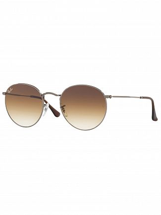 Ray-Ban Light Brown Gradient Round Flat Metal Sunglasses