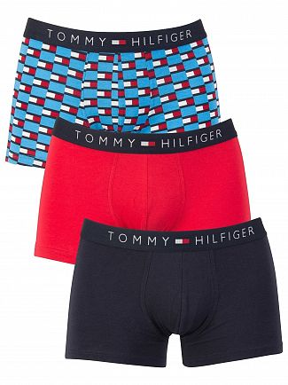 Tommy Hilfiger Malibu Blue/Lollipop/Navy Blazer 3 Pack Icon Trunks