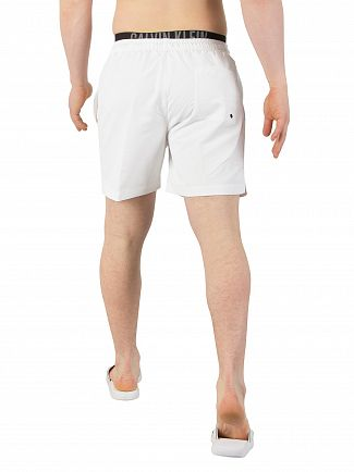 Calvin Klein White Double Waistband Swim Shorts