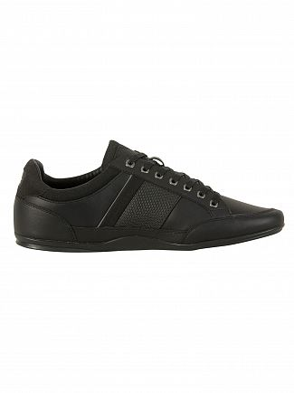 Lacoste Black/Dark Grey Chaymon 118 1 CAM Leather Trainers