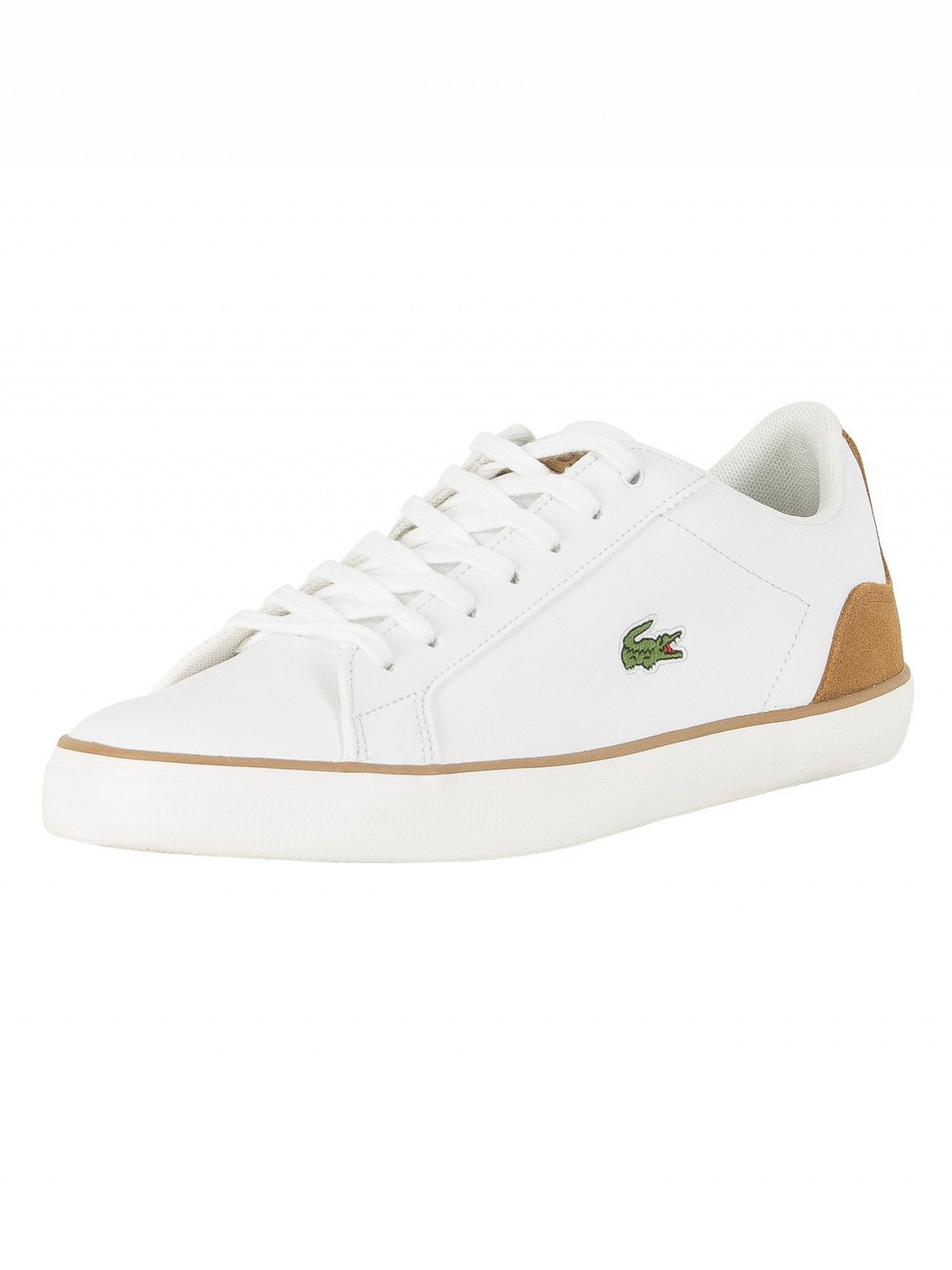 67b9cecb2 Lacoste White Light Brown Lerond 118 1 CAM Leather Trainers