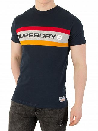 Superdry Three Pointer Navy Trophy Chest Band T-Shirt
