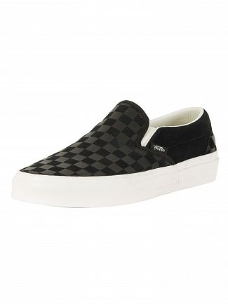 Vans Black Classic Slip-On Checker Emboss Trainers