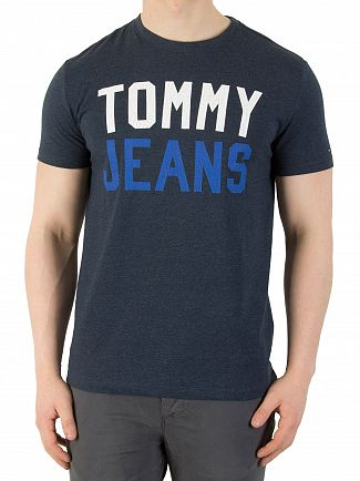 Tommy Jeans Black Iris College Logo T-Shirt