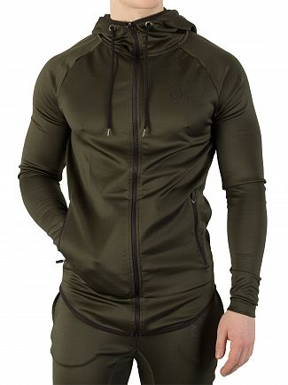 Sik Silk Khaki Athlete Zip Through Hoodie