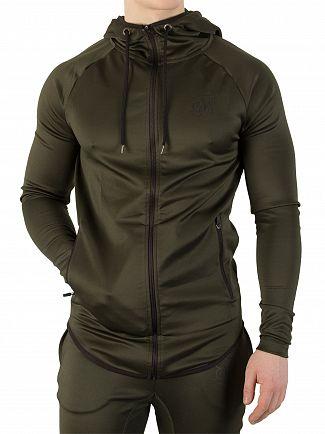Sik Silk Khaki Athlete Zip Through Hoodie