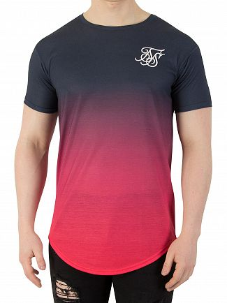 Sik Silk Red Sunset fade Curved Hem Faded T-Shirt