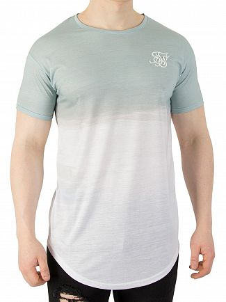 Sik Silk Powder Blue Curved Hem Washout T-Shirt