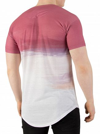 Sik Silk Powder Rouge Curved Hem Washout T-Shirt