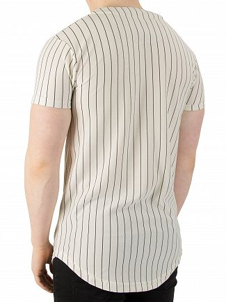 Sik Silk Classic Stripe Loop Back Button Through Sweatshirt