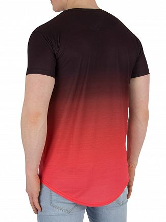 Sik Silk Peach Curved Hem Fade T-Shirt
