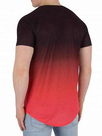 Sik Silk Peach Curved Hem Fade T-Shirt