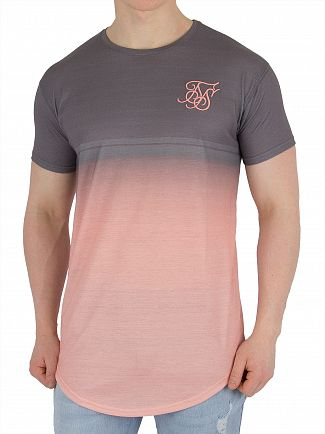 Sik Silk Salmon Curved Hem Fade T-Shirt