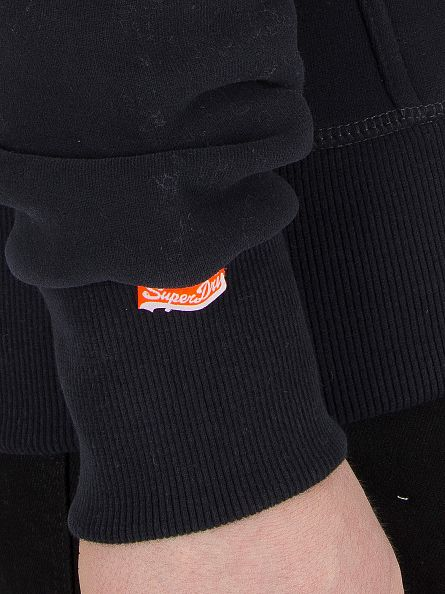Superdry Eclipse Navy Orange Label Logo Zip Hoodie