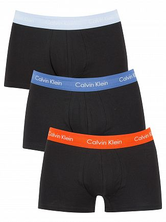 Calvin Klein Black/Oriole/Lakefront 3 Pack Cotton Stretch Trunks