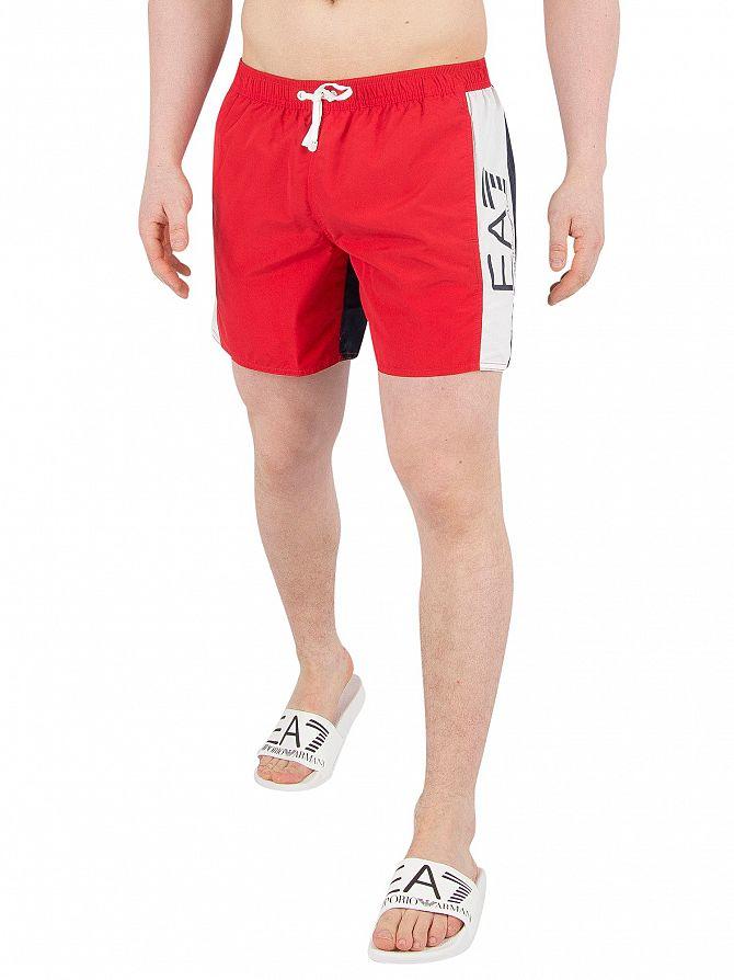 EA7 Red/Blue/White Sea World Swim Shorts