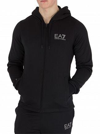 EA7 Black Vigor 7 Zip Hoodie