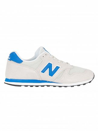 New Balance Off White/Blue 373 Suede Trainers