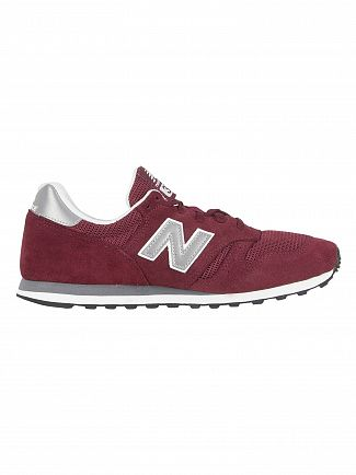 New Balance Burgundy/Silver 373 Suede Trainers
