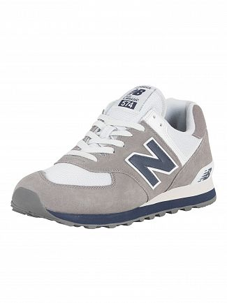 New Balance Gunmetal/Navy 574 Suede Trainers